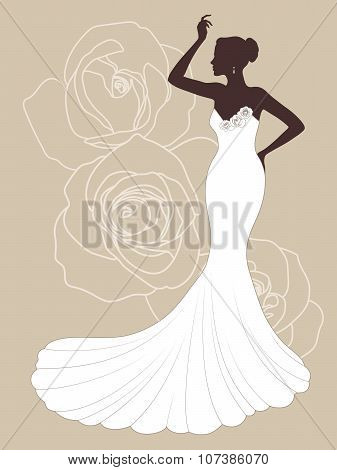 Vector beautiful elegant bride silhouette in a wedding dress with roses on the background. Dress sal