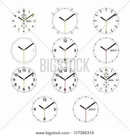 Set of 11 modern smart watches black and golden round dials on white background