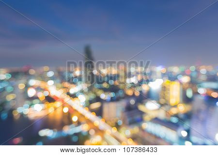 Abstract blurred bokeh lights of city downtown  and bridge