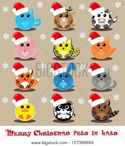 Set Vector Twelve Icons Funny Pets In Santa Hats: Cat, Deer, Cow, Dog, Tiger, Wolf, Fox, Squirrel, R