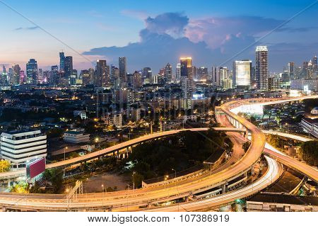 Bangkok city road interchange with central business district