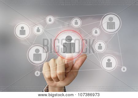 Business Hand Pushing People Button