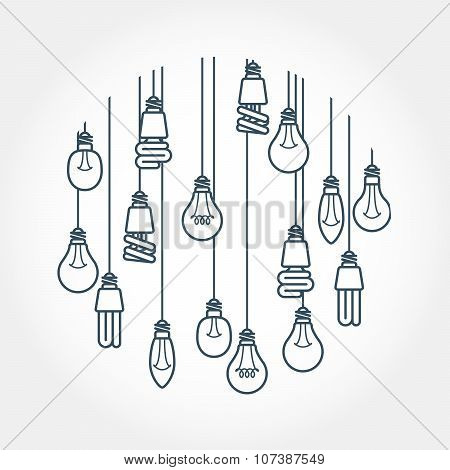 Circle of light bulb hanging on cords