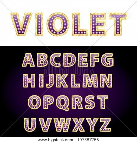 vector golden and purple entertainment or casino letters with bulb lamps