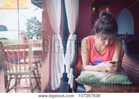 Women Lifestyle Used A Mobile Phone In Cafe Coffee Shop With Texting Message On App Smartphone Playi