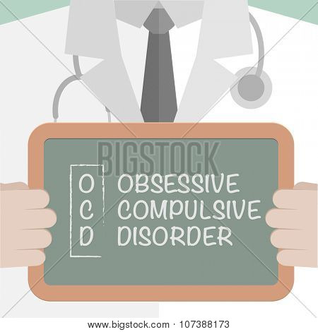 minimalistic illustration of a doctor holding a blackboard with OCD term explanation, eps10 vector