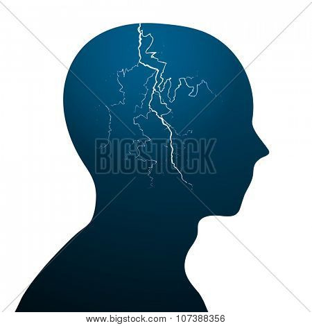 minimalistic illustration of a head with a lightning bolt, eps10 vector