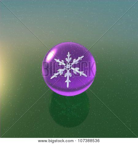 Christmas Snowflakes Crystal Ball Purple