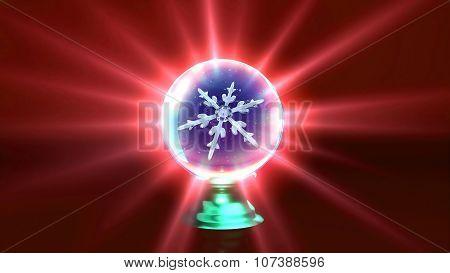 Crystal Ball Christmas Snowflakes Red