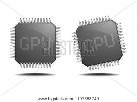 detailed illustration of a GPU, eps10 vector