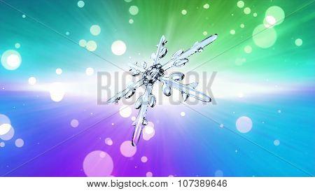 Bokeh Christmas Snowflake Color Background