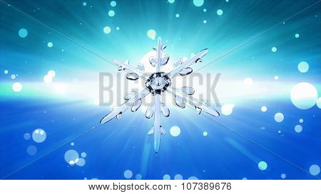 Bokeh Christmas Snowflake Sky Blue Background