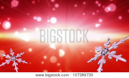 Bokeh Christmas Snowflakes Red Background