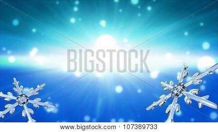 Bokeh Christmas Snowflakes Sky Blue Background
