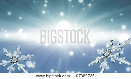 Bokeh Christmas Snowflakes White Background