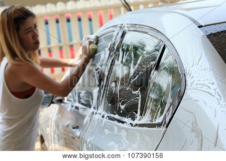 Car Wash, Woman Washing Car At Home