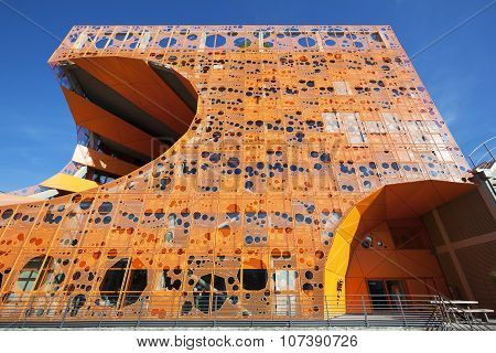 Lyon France - November 5 2015: Orange Cube is designed as a