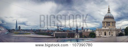 Panoramic shot about the St.Paul Cathedral and the Shard, London, UK