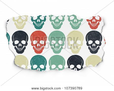 Healthcare concept: Scull icons on Torn Paper background