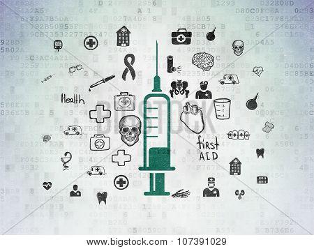 Healthcare concept: Syringe on Digital Paper background