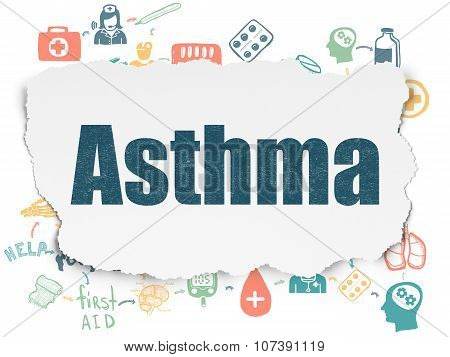 Healthcare concept: Asthma on Torn Paper background