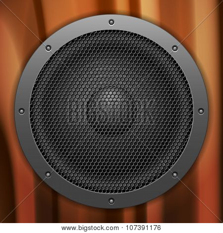 Sound Speaker Wooden Background