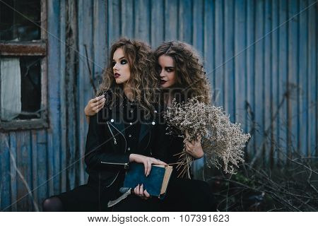 Two vintage witches gathered eve of Halloween