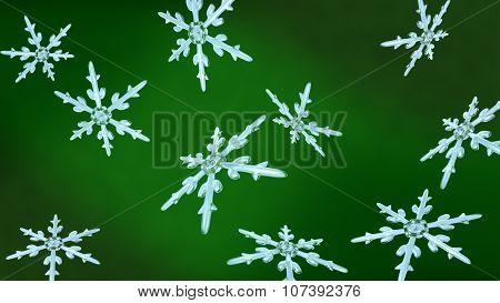 Snowflakes Christmas Background Green