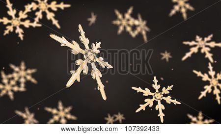 Snowflakes Focusing Background Gold Dark