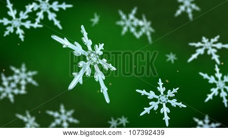 Snowflakes Focusing Background Green