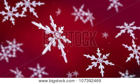 Snowflakes Focusing Background Red