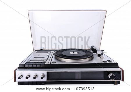 Retro Electronic Gramophone Isolated On White Background