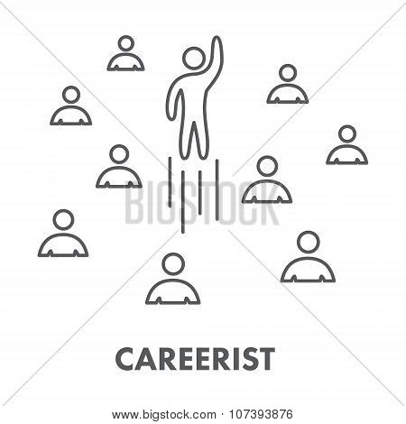 Line Icon Careerist. Symbol, Logo And Banner