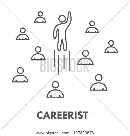 Line Icon Careerist. Symbol, Logo And Banner