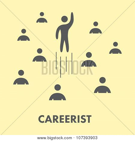 Careerist Icon. Silhouette People. Vector Symbol