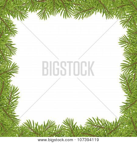 Christmas Tree Frame Isolated On White Background