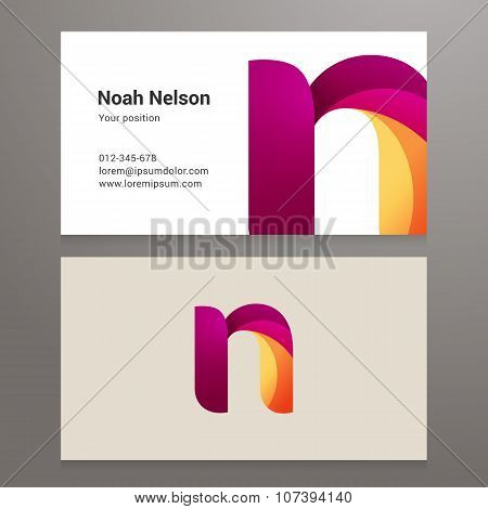 Modern Letter N Twisted Business Card Template