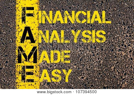 Business Acronym Fame As Financial Analysis Made Easy