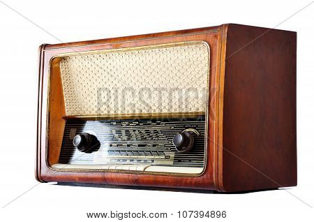 Old, Retro, Vintage Radio, Isolated On White