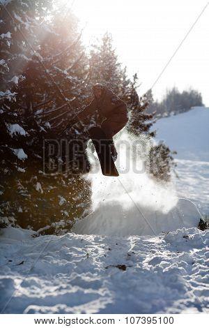 Man Snowboarder Jumping