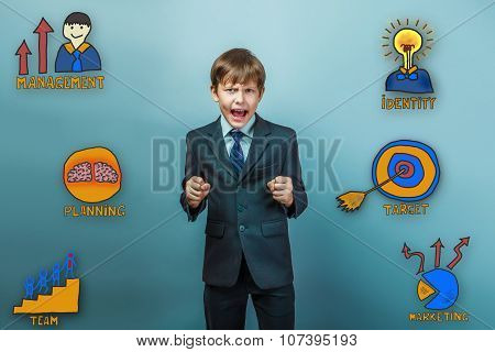 boy businessman opened his mouth, ready for battle cries