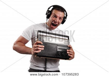 Portrait Of A Screaming Sexy Man With Old Vintage Radio, Isolated On White