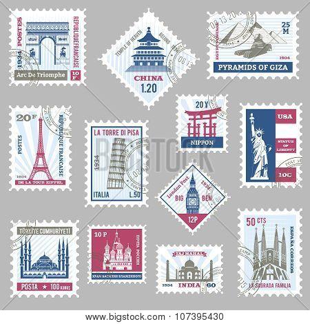 Postage Stamps Set