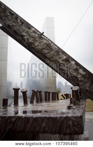 JERSEY CITY, NJ-SEP 10 2015: Steel beams recovered from the World Trade Center site in front of the Empty Sky Memorial, the official New Jersey September 11th memorial in Liberty State Park.