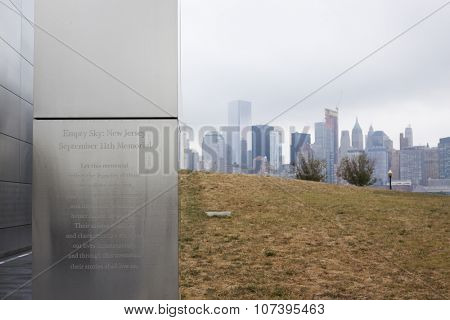 JERSEY CITY, NJ-SEP 10 2015: Inscription on the wall of Empty Sky, the official New Jersey Sept 11th memorial in Liberty State Park that lines up on the New York skyline where WTC towers once stood.