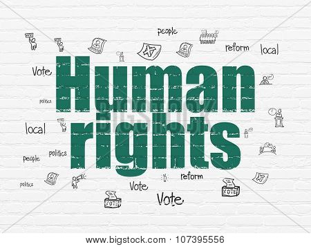 Politics concept: Human Rights on wall background