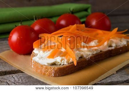 Bread With Fresh Cheese With Tomatoes Around
