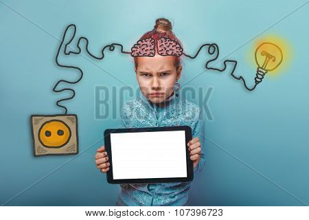 teen girl holding a plate and frowned offended charging cord plu