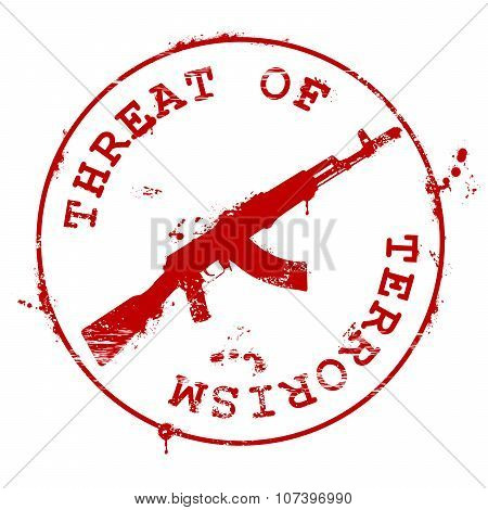 Stamp with guns and bloody blots - threat of terrorism