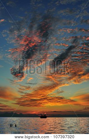 Figures in the sky-dramatic sunset